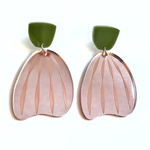 Load image into Gallery viewer, Stripe Earrings in Rose Gold Mirror with Olive Green top