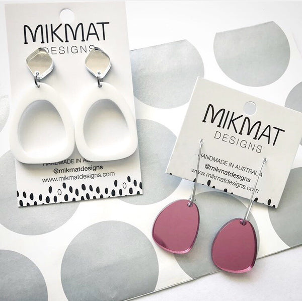Organic Egg Drop Earrings White - Mikmat Designs Earrings Laser Cut Designs