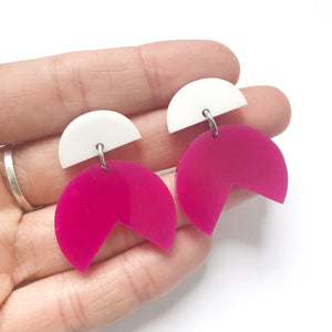 Pacman Drop Earrings Pink & White - Mikmat Designs Earrings Laser Cut Designs