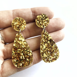 Glitter Drops Earrings Gold - Mikmat Designs Earrings Laser Cut Designs
