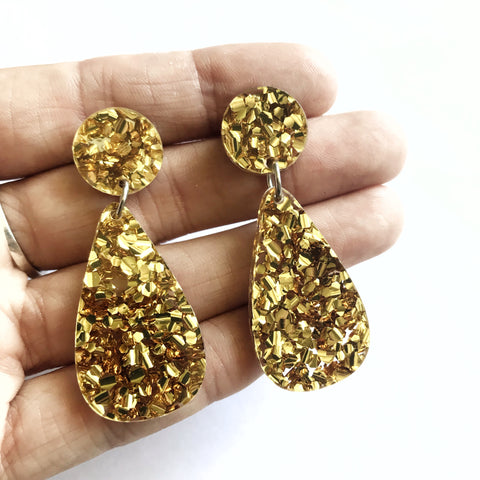 Glitter Drops Earrings Gold - Mikmat Designs
