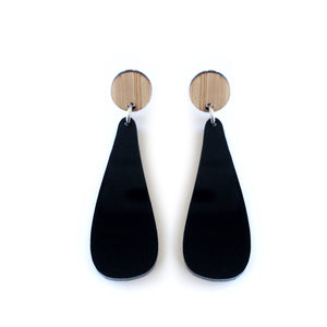 Iota Drop Earrings Black & Bamboo - Mikmat Designs Earrings Laser Cut Designs
