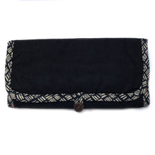 Load image into Gallery viewer, Jewellery Roll in Black Dashed Linen - Mikmat Designs