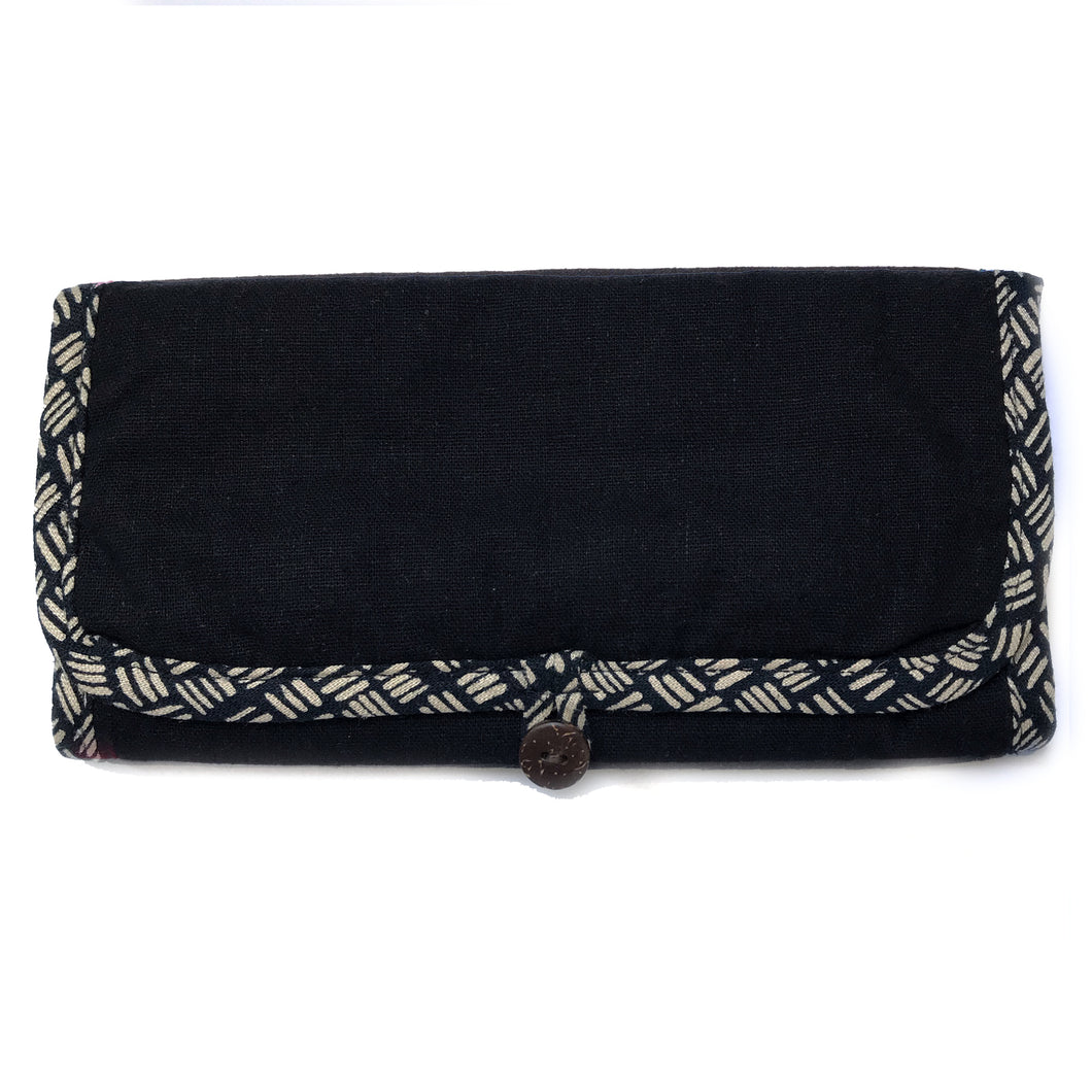 Jewellery Roll in Black Dashed Linen - Mikmat Designs
