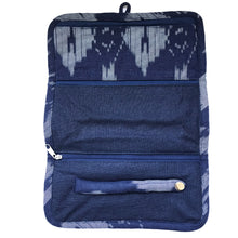 Load image into Gallery viewer, Jewellery Roll in Navy Ikat Linen - Mikmat Designs