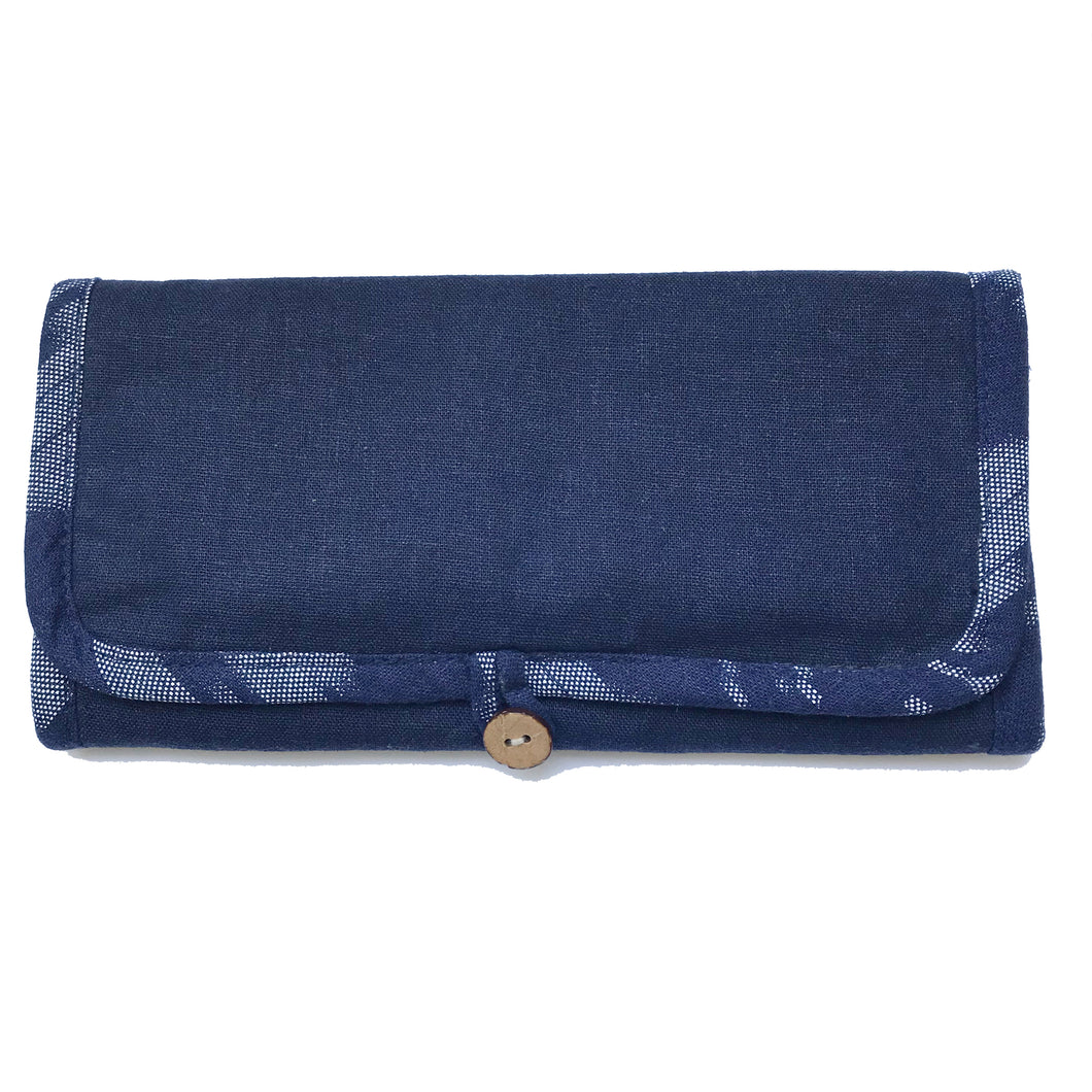 Jewellery Roll in Navy Ikat Linen - Mikmat Designs