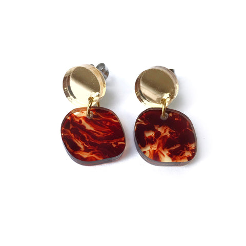 Mini Planet Earrings Tortoise Shell & Gold