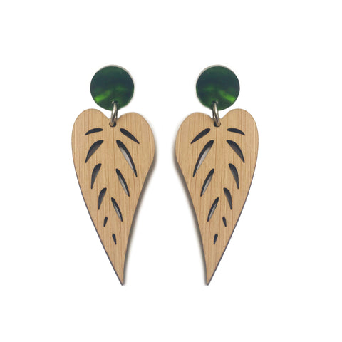 Leaves Drop Earrings Bamboo - Mikmat Designs Earrings Laser Cut Designs