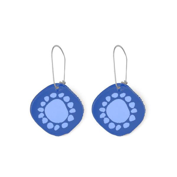 Mini Sunshine Earrings Blue Mirror - Mikmat Designs Earrings Laser Cut Designs