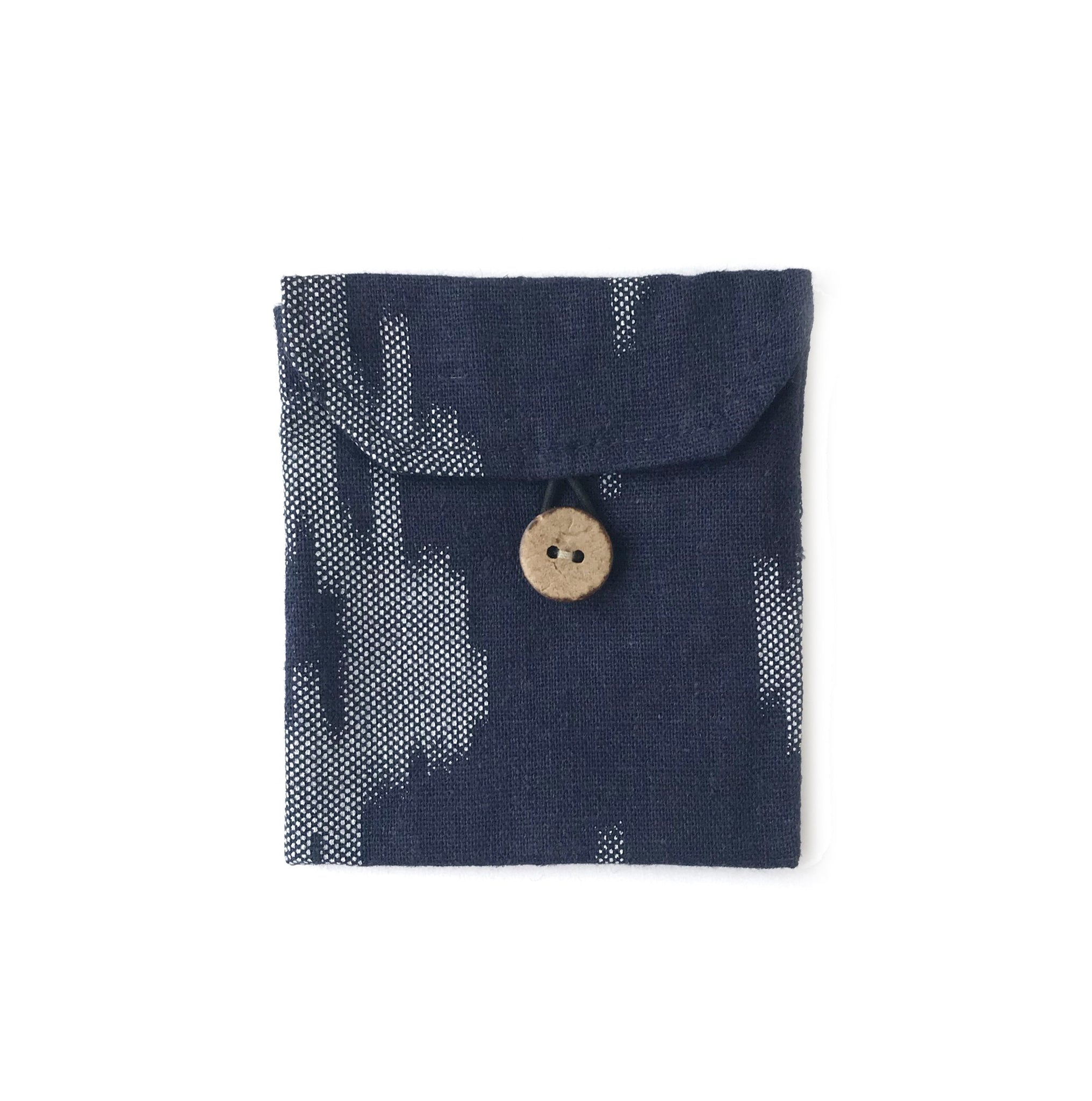 Pocket in Linen Navy Ikat - Mikmat Designs Earrings Laser Cut Designs