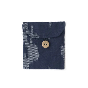 Pocket in Linen Navy Ikat - Mikmat Designs