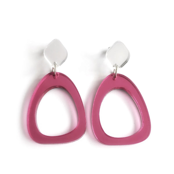 Organic Egg Drop Earrings Mirror Pink - Mikmat Designs Earrings Laser Cut Designs