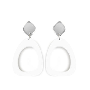 Organic Egg Drop Earrings White - Mikmat Designs