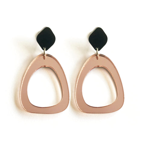 Organic Egg Drop Earrings Rose Gold Mirror
