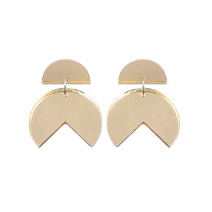 Pacman Drop Earrings Gold Mirror - Mikmat Designs Earrings Laser Cut Designs
