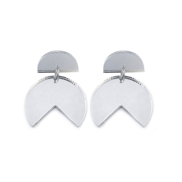 Pacman Drop Earrings Silver Mirror - Mikmat Designs Earrings Laser Cut Designs