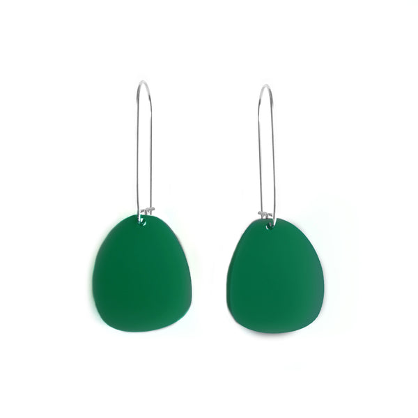 Pendulum Hook Earrings Dark Green - Mikmat Designs Earrings Laser Cut Designs