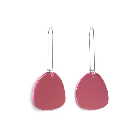 Pendulum Hook Earrings Mirror Pink - Mikmat Designs Earrings Laser Cut Designs