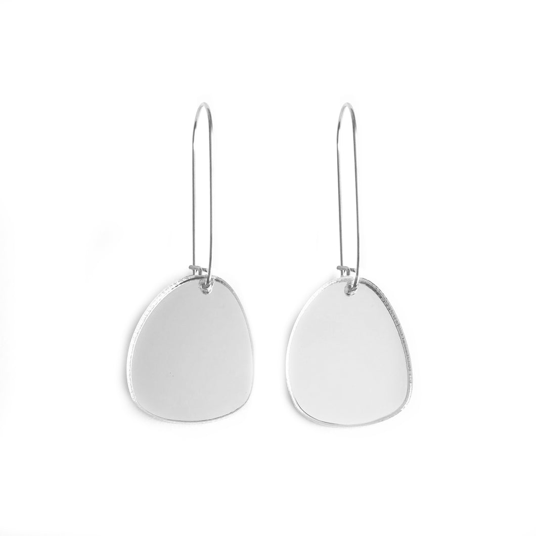 Pendulum Hook Earrings Silver Mirror - Mikmat Designs