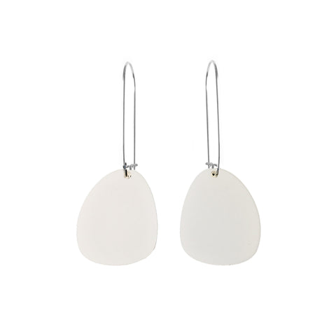 Pendulum Hook Earrings White - Mikmat Designs Earrings Laser Cut Designs