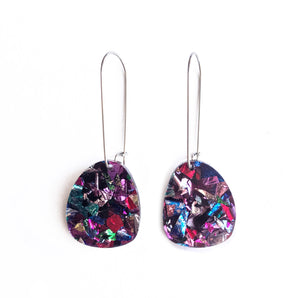 Acrylic earrings in lots of colours. Black, white, mutlicolour, mint green, pink, gold, rose gold and tortoise shell earrings.