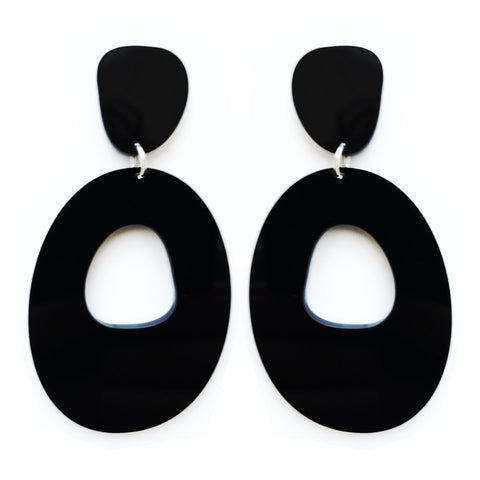 Pond Dangles Earrings in Black - Mikmat Designs Earrings Laser Cut Designs