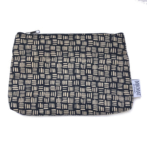 Linen Dashed Black Pouch - Mikmat Designs