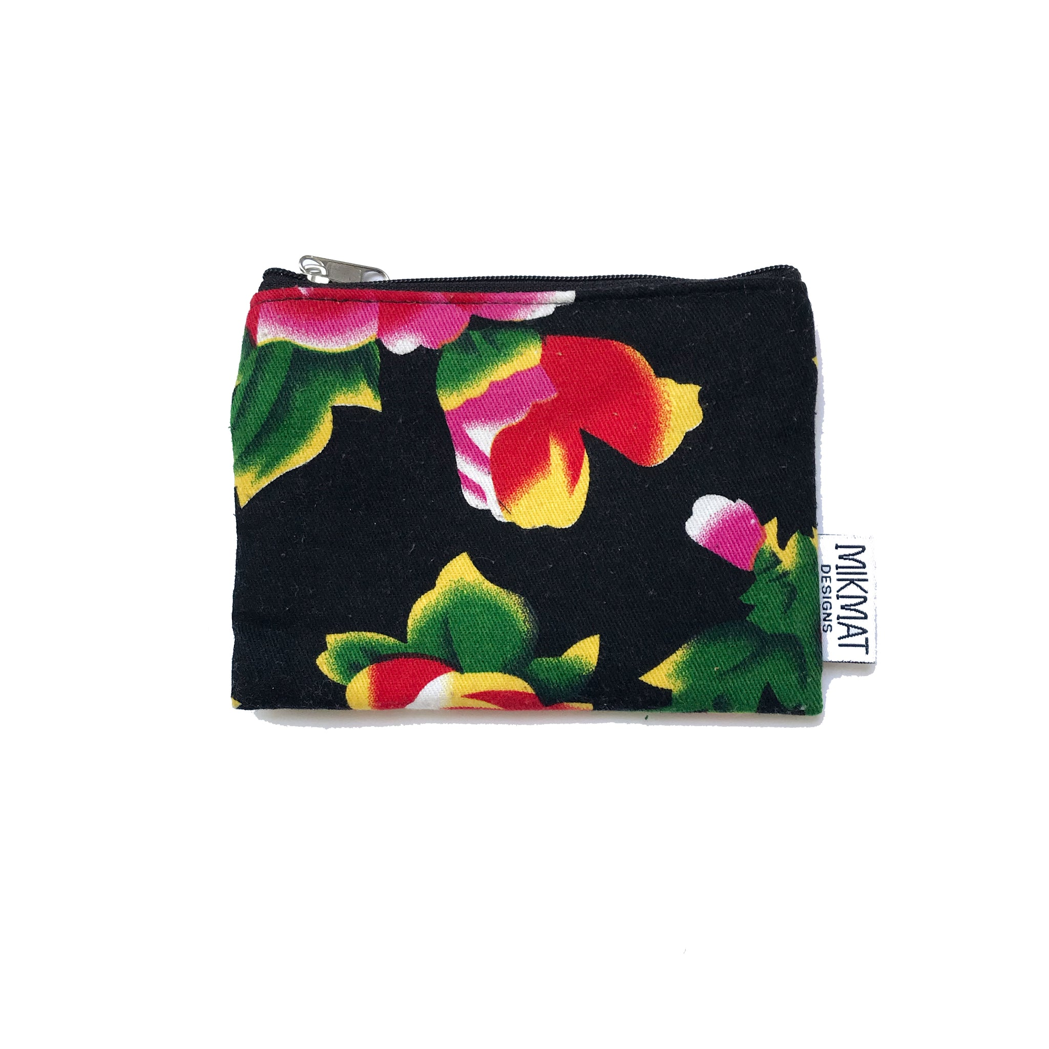Small Pouch in Black Peacock fabric - Mikmat Designs