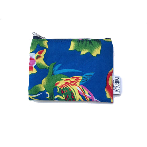 Small Pouch in Blue Peacock Fabric - Mikmat Designs