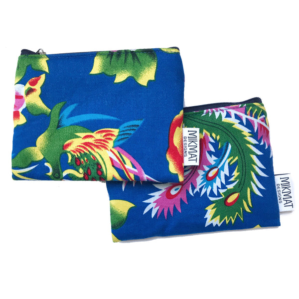 Small Pouch in Blue Peacock Fabric - Mikmat Designs Earrings Laser Cut Designs
