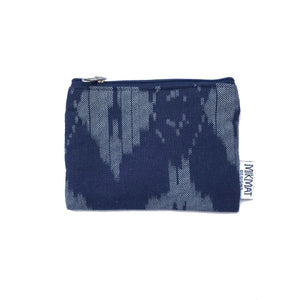Navy Ikat Linen Small Pouch - Mikmat Designs Earrings Laser Cut Designs