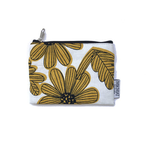 Yellow Flowers Linen  Small Pouch