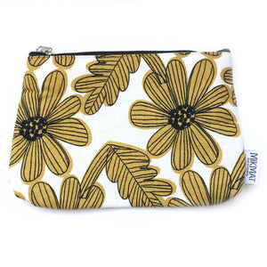 Linen Yellow Flowers Pouch - Mikmat Designs Earrings Laser Cut Designs