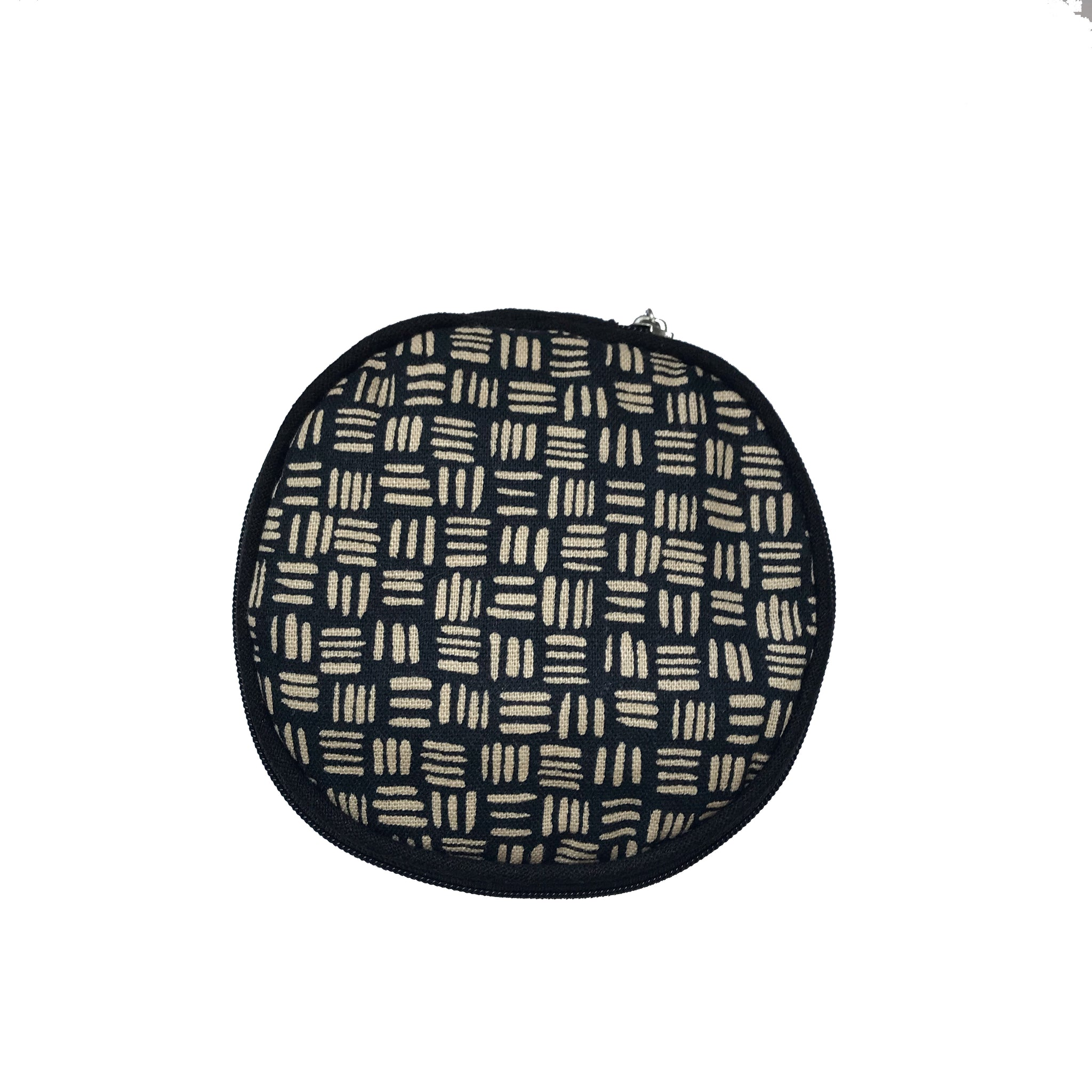 Round Jewellery Roll in Black Dashed Linen - Mikmat Designs Earrings Laser Cut Designs