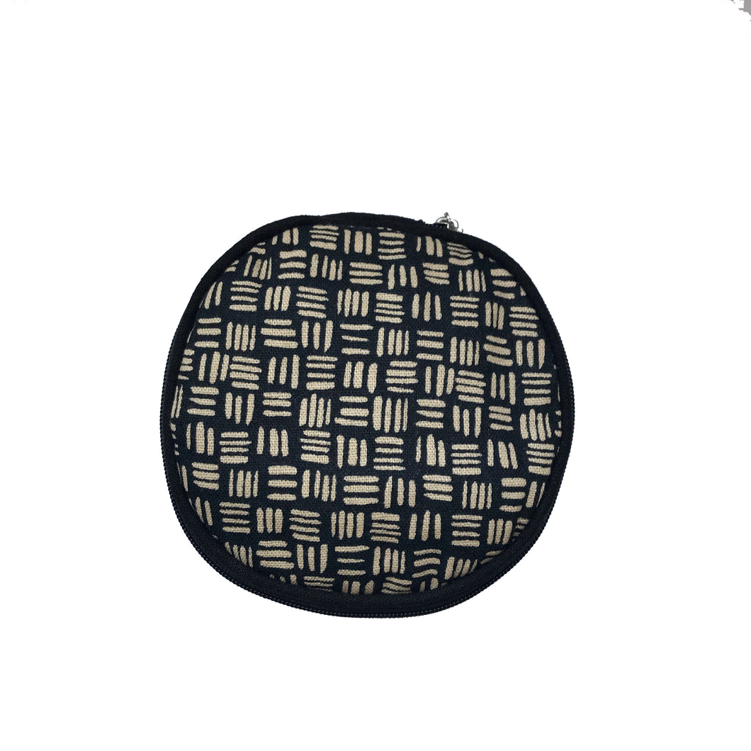 Round Jewellery Roll in Black Dashed Linen - Mikmat Designs