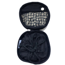 Load image into Gallery viewer, Round Jewellery Roll in Black Dashed Linen - Mikmat Designs