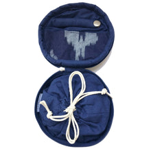 Load image into Gallery viewer, Round Jewellery Roll in Navy Ikat - Mikmat Designs