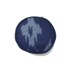 Round Jewellery Roll in Navy Ikat - Mikmat Designs