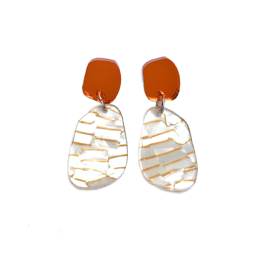 Stone Drop Earrings in Orange Mirror and Gold Fleck