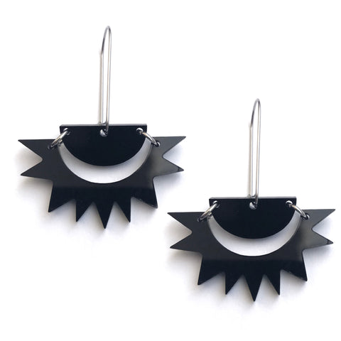 Sunburst Earrings Black - Mikmat Designs Earrings Laser Cut Designs