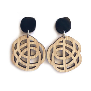 Swirl Earrings Bamboo - Mikmat Designs Earrings Laser Cut Designs