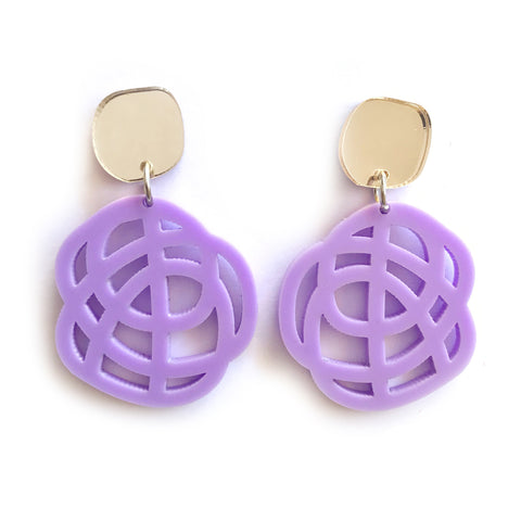 Swirl Earrings Mauve - Mikmat Designs Earrings Laser Cut Designs