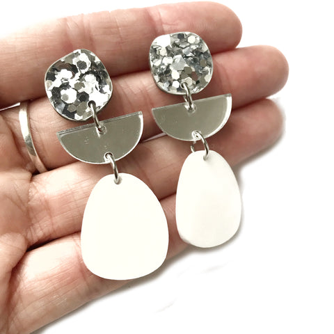 Tier Drop Earrings White & Silver
