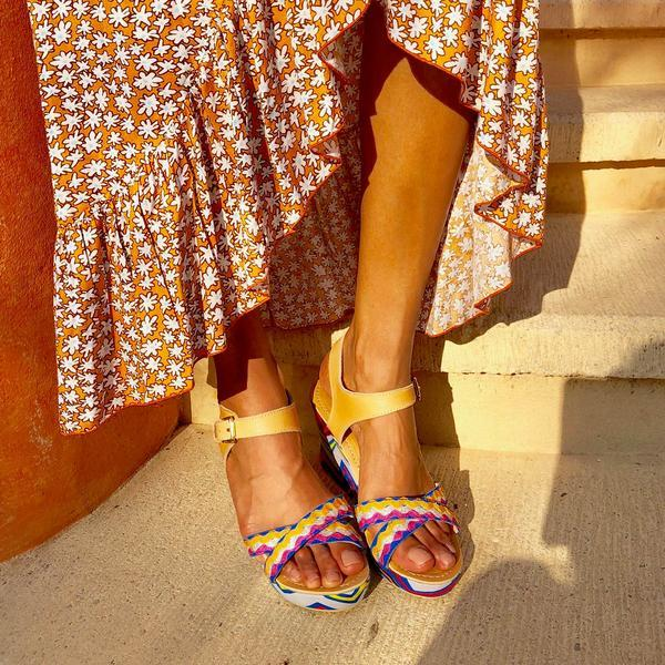 Berber Rainbow Wedge Sandals