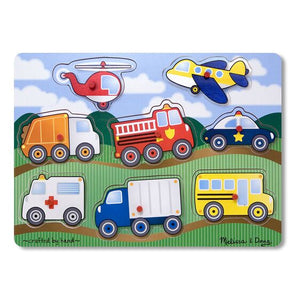 Melissa and Doug Vehicles Peg Puzzle - 8 Pieces - All-Star Learning Inc. - Proudly Canadian