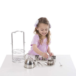 Melissa and Doug Stainless Steel Tea Set and Storage Stand - All-Star Learning Inc. - Proudly Canadian
