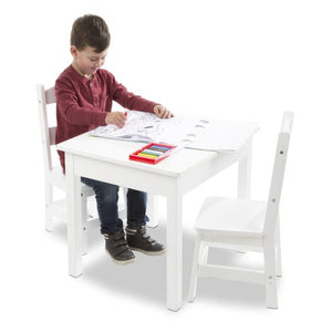 Melissa and Doug Wooden Table & Chairs - White