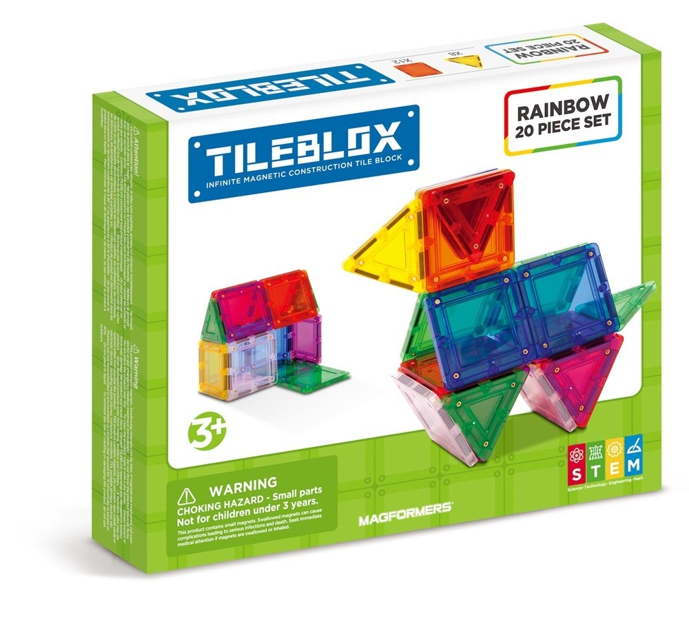 TileBlox Rainbow 20 Pcs Set - All-Star Learning Inc. - Proudly Canadian