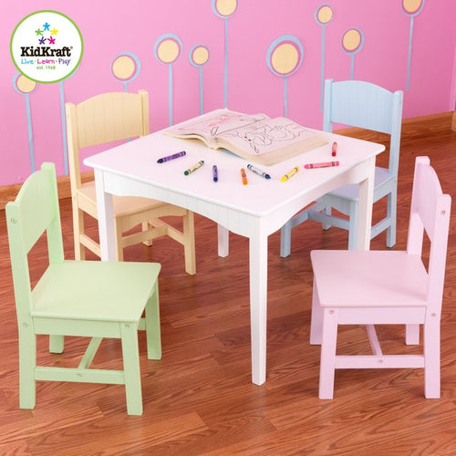 KidKraft Nantucket Table & 4 Pastel Chairs - All-Star Learning Inc. - Proudly Canadian