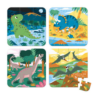 Janod 4 Progressive Difficulty Puzzles Dinosaurs - All-Star Learning Inc. - Proudly Canadian